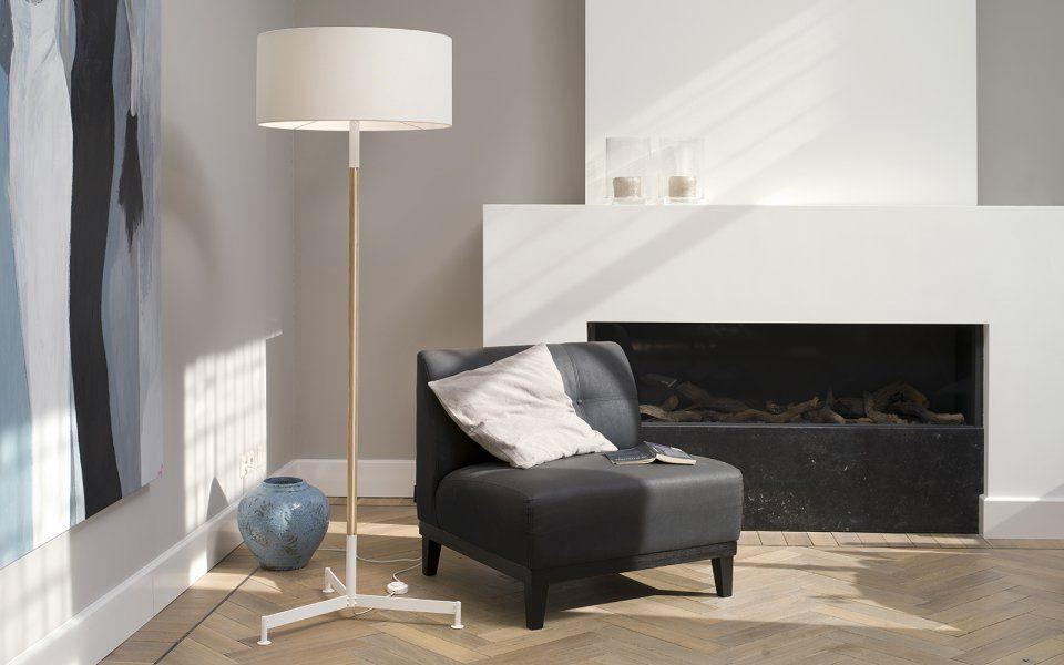 Functionals Stoklamp Design Vloerlamp Zwart Messing Gimmii Woonkamer Staande