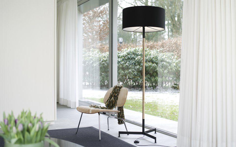 Functionals Stoklamp Design Vloerlamp Zwart Messing Gimmii Woonkamer Staande Minimalistisch