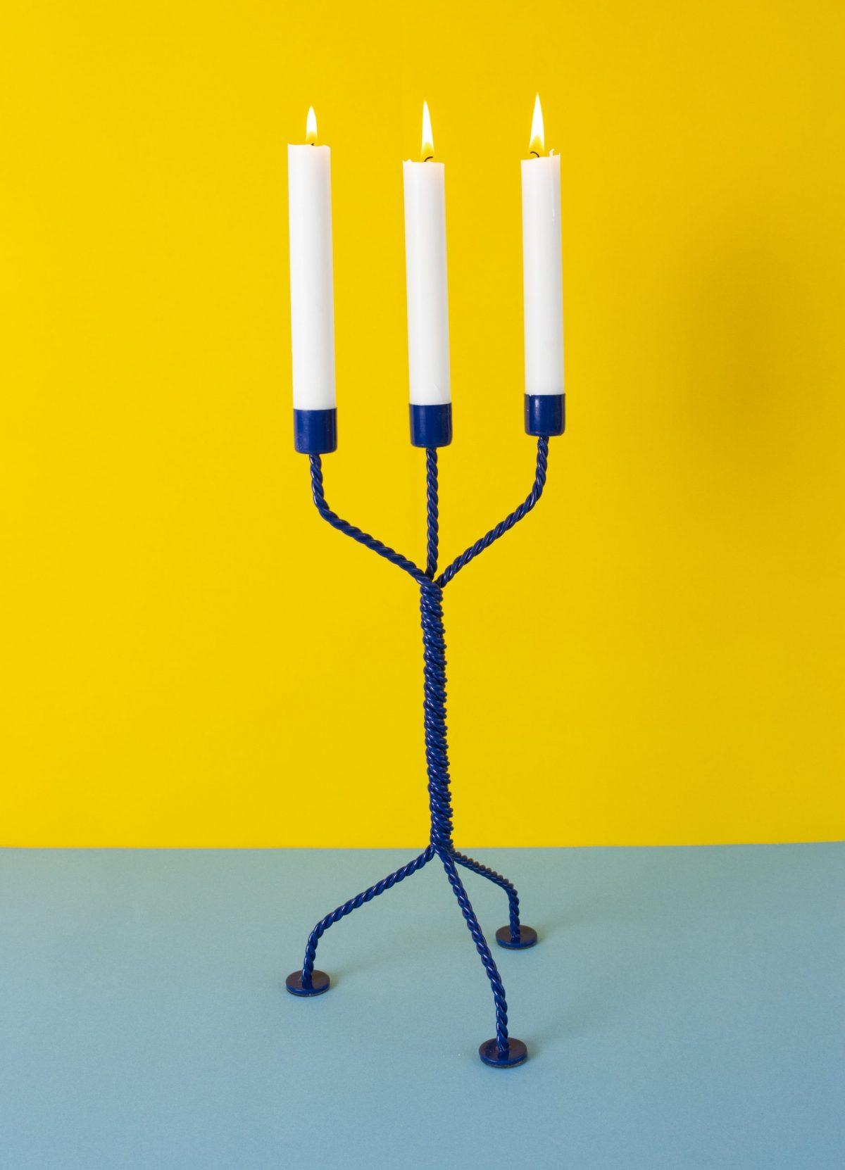 Werkwaardig Twisted Candleholder Dutch Design Kleuren Blauwgeel